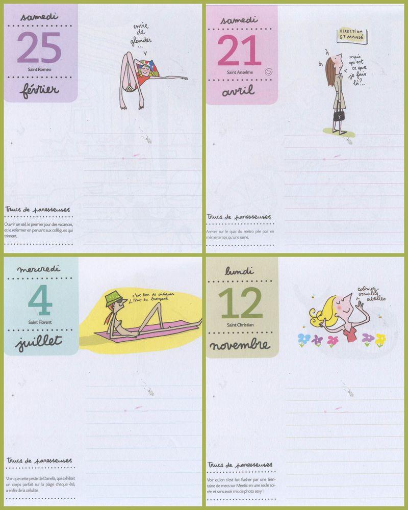 Intérieur almanach 2012 des paresseuses