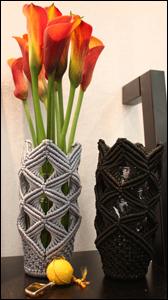 Cache-vase-macrame an vert du design
