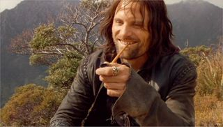 Viggo laughing with pipe